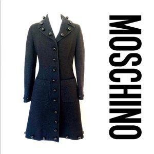 Moschino Black Bobble detailed Coat.